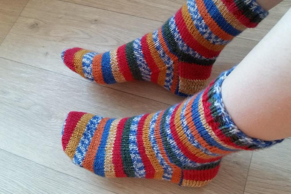 Gestreepte sokken breien