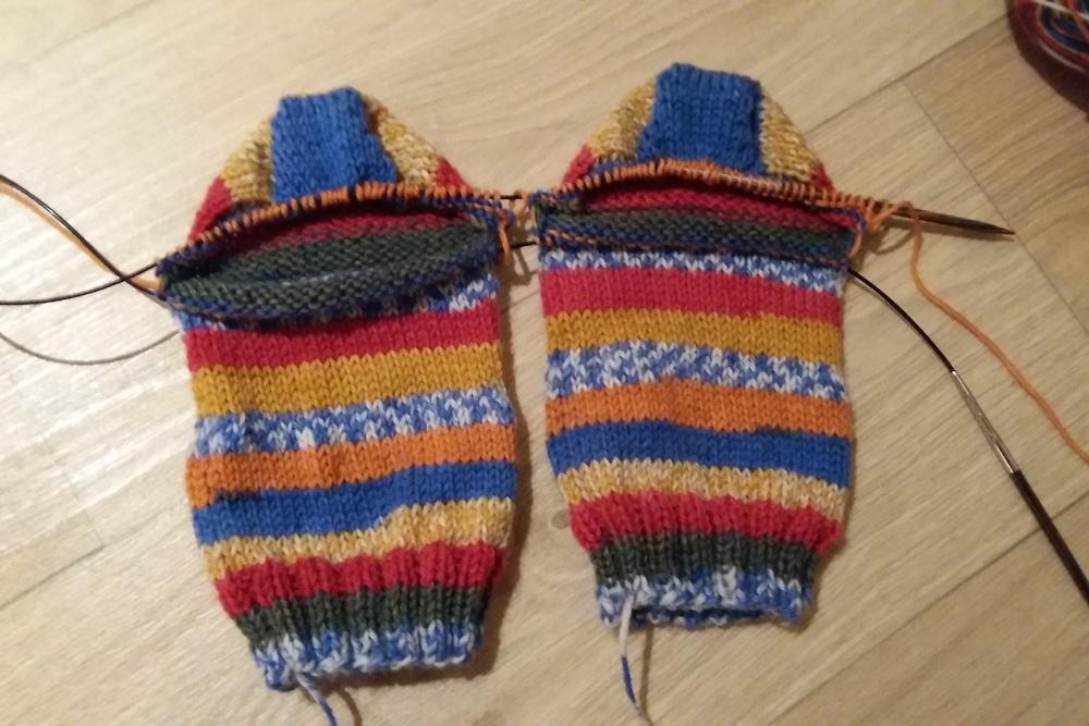 Twee sokken hiel